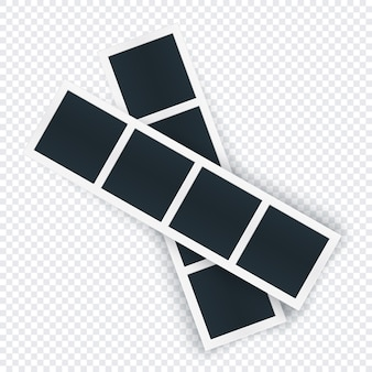 Plantilla de dos tiras de fotos rotadas, la imagen se coloca en fila. marco de fotografía girado