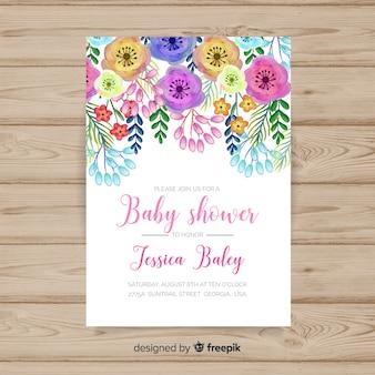 Plantilla de ducha de bebé floral