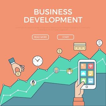Plantilla e iconos de infografías de desarrollo digital de negocios planos lineales vector de imagen de héroe de sitio web