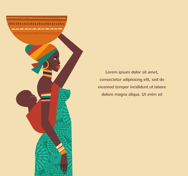 Plantilla e ilustraciones con mujer africana y niño.