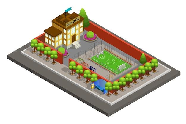 Plantilla de edificio de escuela de ciudad isométrica
