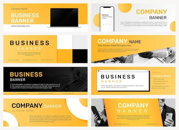 Plantilla editable de banner de empresa para conjunto de sitios web comerciales