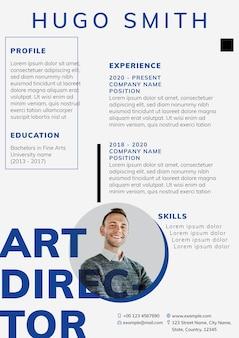 Plantilla editable de currículum vitae creativo para búsqueda de empleo