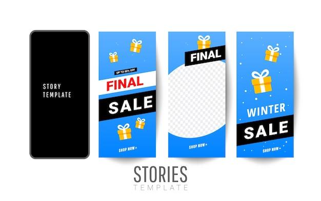Plantilla editable de invierno de moda para historias de redes sociales