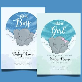 Plantilla editable linda de la invitación de la acuarela de la fiesta de bienvenida al bebé