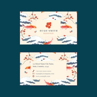 Plantilla editable de vector de tarjeta de nombre de patrón japonés, remezcla de ilustraciones de watanabe seitei
