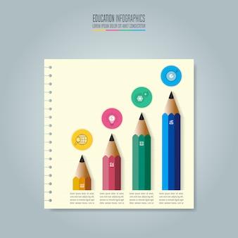 Plantilla de educación infografía opción de 4 pasos.