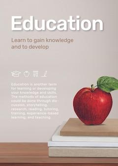 Plantilla de educación con manzana en la pila de libros