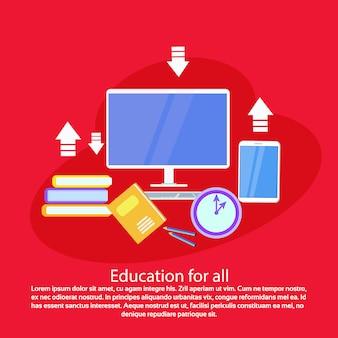 Plantilla de educación para todos web banner con copia espacio