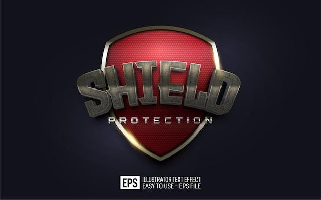 Plantilla de efecto de estilo editable de protección de texto de escudo 3d creativo