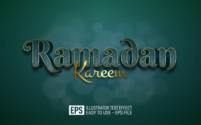 Plantilla de efecto de estilo editable de texto 3d de ramadan kareem
