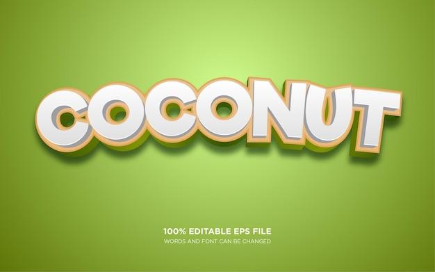 Plantilla de efecto de estilo de texto 3d de coco