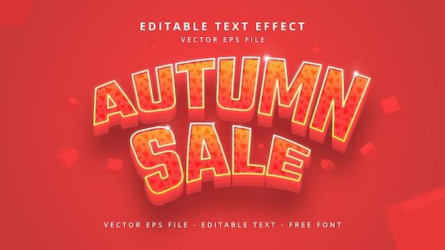 Plantilla de efecto de estilo de texto 3d editable de venta de otoño