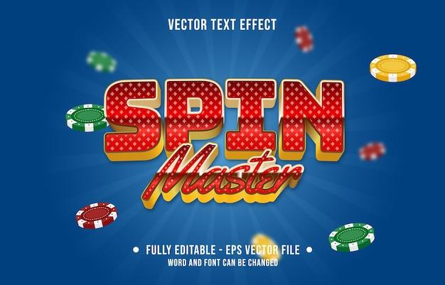 Plantilla de efecto de fuente de estilo de fondo de casino de color degradado de efecto de texto editable