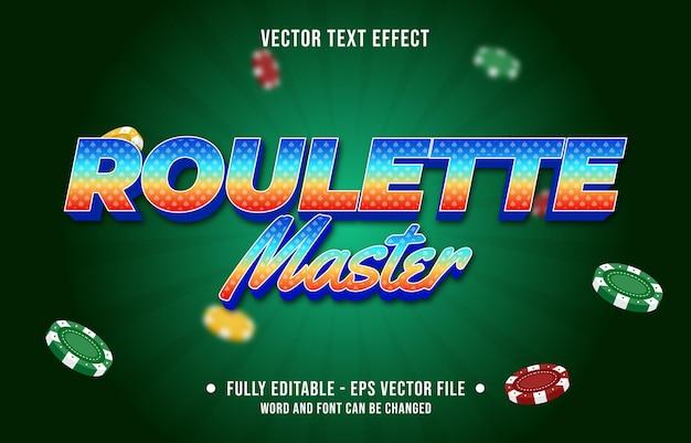 Plantilla de efecto de fuente de estilo de juego de póquer de casino de color degradado de efecto de texto editable