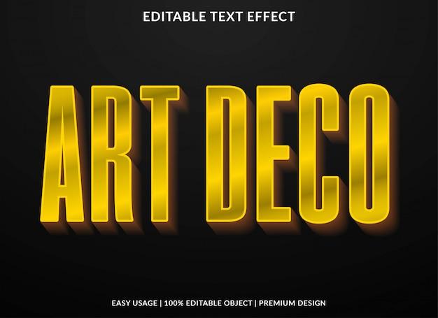 Plantilla de efecto de texto art deco con estilo retro y texto en negrita