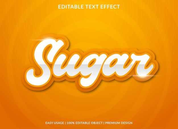 Plantilla de efecto de texto de azúcar con estilo en negrita para la marca comercial y el logotipo