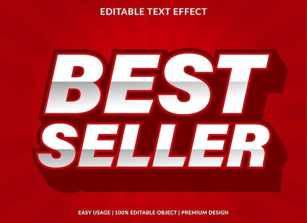 Plantilla de efecto de texto de best seller con estilo negrita 3d