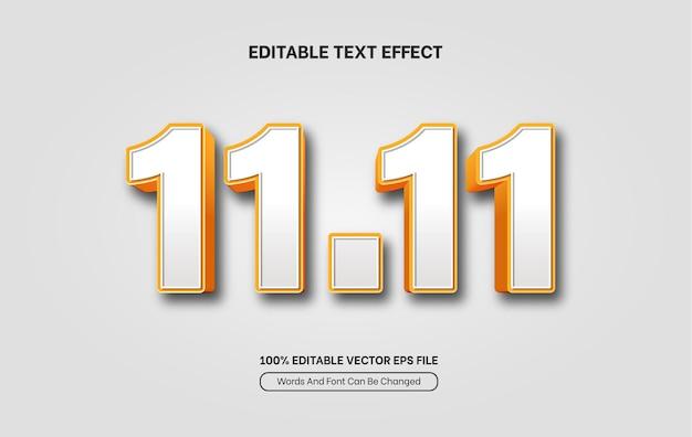 Plantilla de efecto de texto de día de solteros 3d de venta flash estilo de fuente editable
