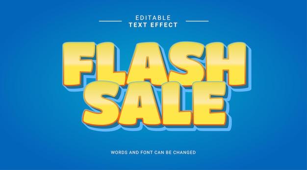 Plantilla de efecto de texto editable 3d azul amarillo de venta flash