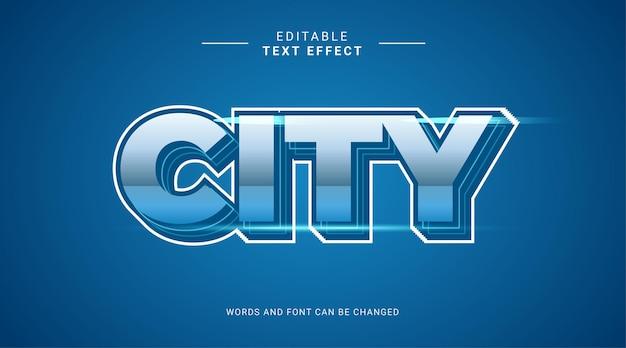 Plantilla de efecto de texto editable 3d ciudad negrita cielo azul