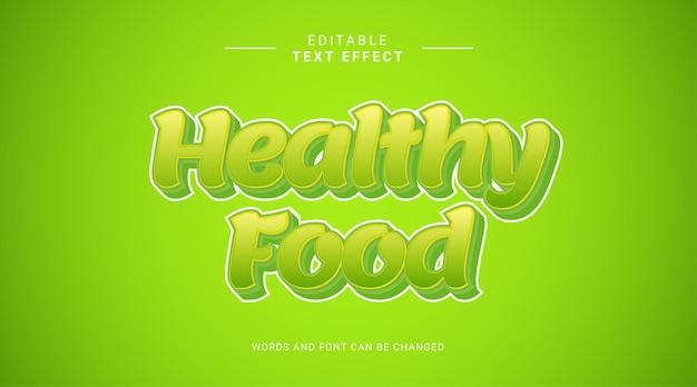 Plantilla de efecto de texto editable 3d de comida sana verde