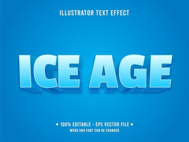 Plantilla de efecto de texto editable estilo de la era de hielo azul