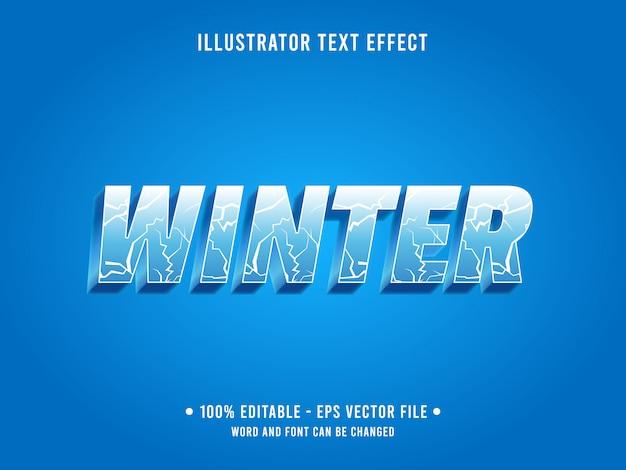 Plantilla de efecto de texto editable estilo de invierno de grieta de hielo