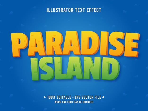 Plantilla de efecto de texto editable isla estilo playa