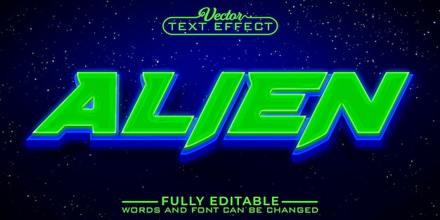 Plantilla de efecto de texto editable para juegos green alien