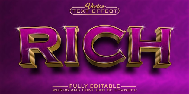 Plantilla de efecto de texto editable de lujo dorado rico