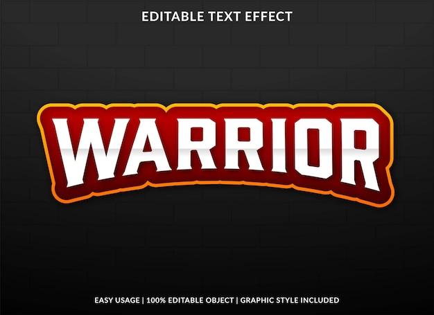 Plantilla de efecto de texto de guerrero vector premium