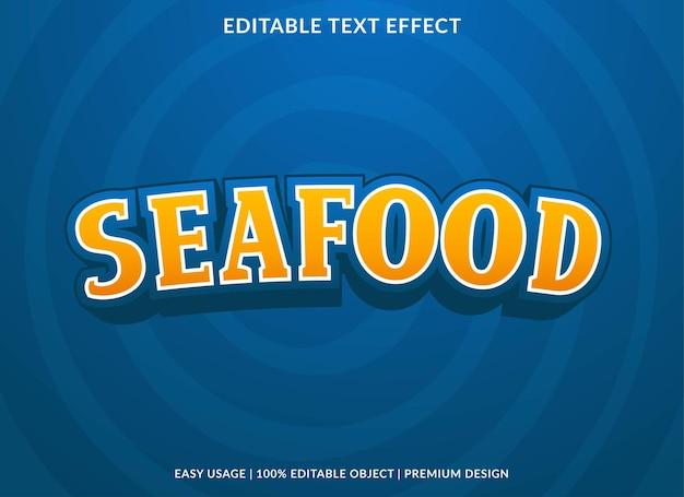 Plantilla de efecto de texto de mariscos vector premium