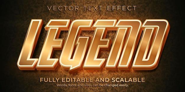 Plantilla de efecto de texto metálico de leyenda bronce