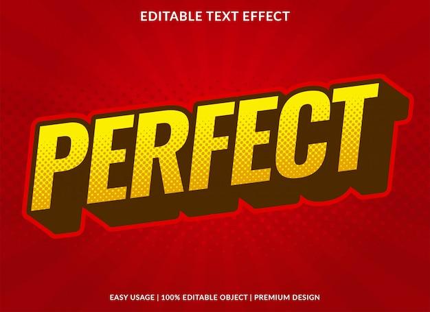 Plantilla de efecto de texto perfecto con estilo cómico retro