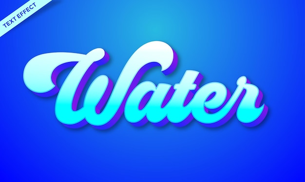 Plantilla de efectos de texto azul agua