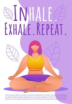 Plantilla de ejercicios de respiración. posturas de meditación.