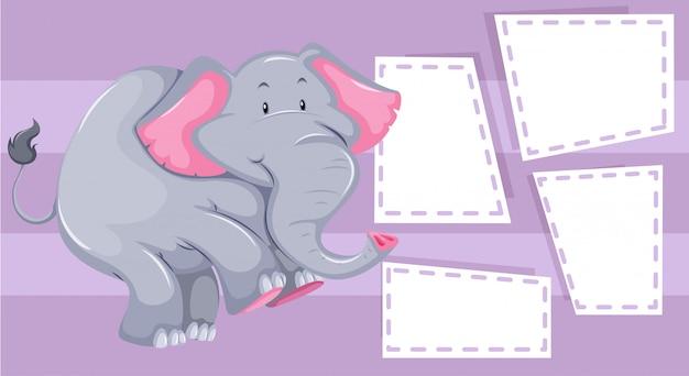 Plantilla de elefante en nota