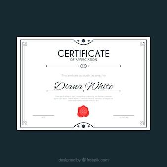 Plantilla elegante de certificado con diseño plano