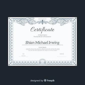 Plantilla elegante de certificado con diseño vintage