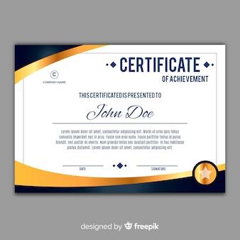 Plantilla elegante de certificado con elementos dorados