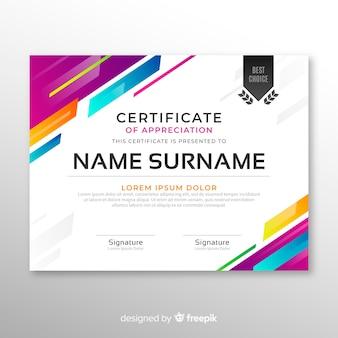 Plantilla elegante de certificado en estilo abstracto