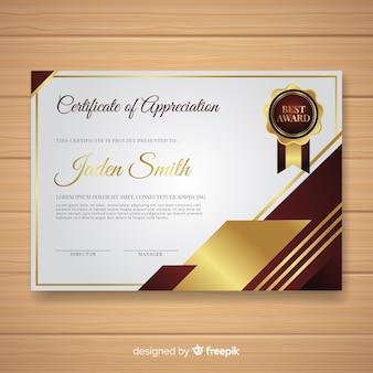 Plantilla elegante de certificado con estilo dorado