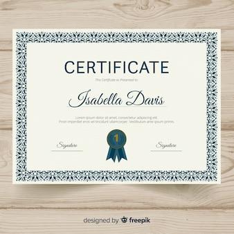 Plantilla elegante de certificado con marco decorativo