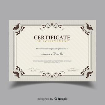Plantilla elegante de certificado ornamental decorativo
