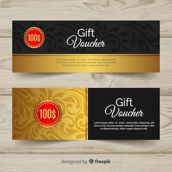 Plantilla elegante de cupón de regalo con estilo dorado
