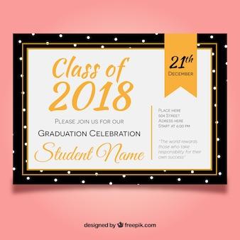 Plantilla elegante de invitación a fiesta de graduación con diseño plano