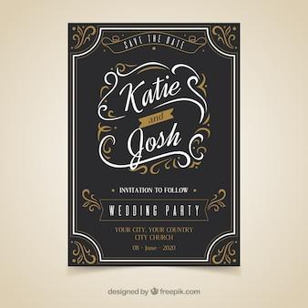 Plantilla elegante de invitación de boda con estilo vintage