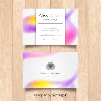 Plantilla elegante de tarjeta de negocios con efecto borroso