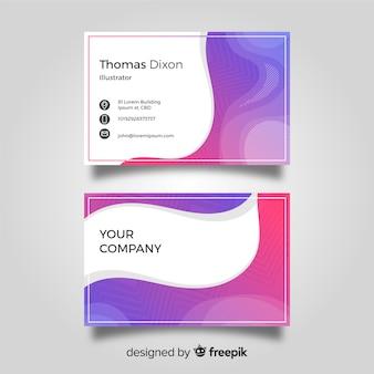 Plantilla elegante de tarjeta de negocios con ondas abstractas